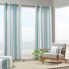 "Print Stripe 3M Scotchgard Curtain Blue & White/54""x95"""