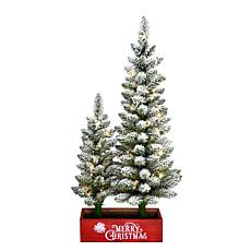 Puleo International 2'&3' Lit Flocked Slim Artificial Christmas Trees