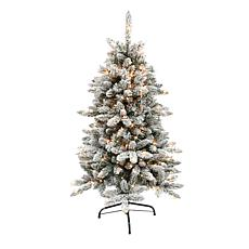 Puleo International 4.5' Pre-Lit Flocked Fir  Christmas Tree
