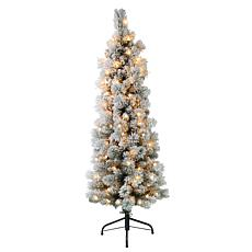 Puleo International 4.5' Pre-Lit Flocked Pencil Christmas Tree
