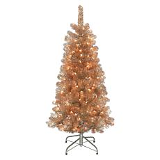 Puleo International 4.5' Pre-lit Rose Gold Artificial Christmas Tree