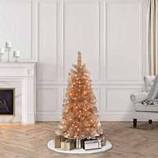 Puleo International 4.5' Pre-lit Rose Gold Artificial Christmas Tree