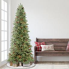 Puleo International 7.5' Pre-Lit Slim Spruce Artificial Christmas Tree