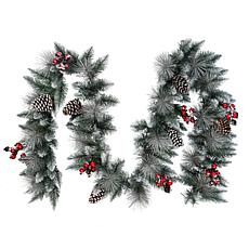 Puleo International 9' Sterling Pine  Garland with Silver Glitter