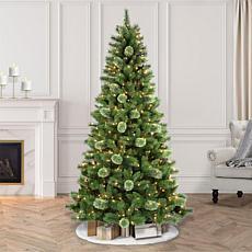 Puleo Intl. Pre-Lit 7.5' Western Pine Artificial Christmas Tree, Green