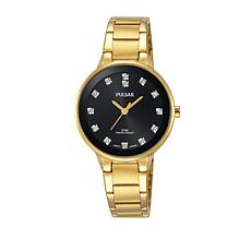 Pulsar Ladies Goldtone Black Dial Bracelet Watch with Crystal Markers