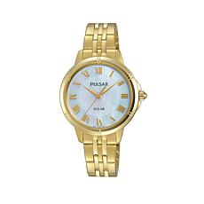 Pulsar Women's Goldtone Mother-of-Pearl Dial Solar-Powered Watch