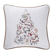 Puppy Tree Embroidered Pillow