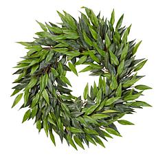 "Pure Garden 18"" Indoor Artificial Microphylla Leaf Wreath"