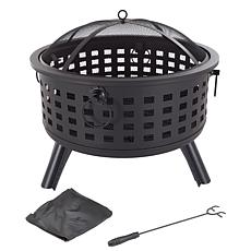 """Pure Garden 26"""" Round Metal Fire Pit Set with Screen Cover and Poker"""