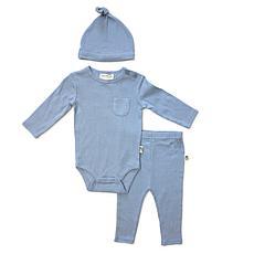 Rabbit + Bear Organic Cotton Boys Bodysuit, Pant, Cap 3-piece Set