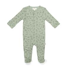 Rabbit + Bear Organic Cotton Boys Ribbed Footed Coverall w/ Zipper