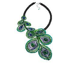 Rara Avis by Iris Apfel Beaded Peacock Asymmetrical Bib Necklace