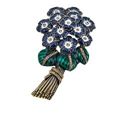 Rara Avis by Iris Apfel Crystal and Enamel Bouquet Brooch