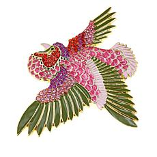 Rara Avis by Iris Apfel Crystal and Enamel Rooster Brooch