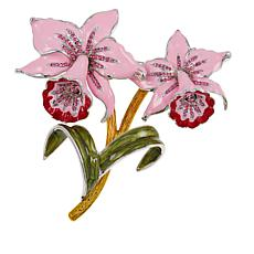 Rara Avis by Iris Apfel Enamel and Crystal Orchid Brooch