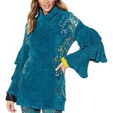 Rara Avis by Iris Apfel Feather Ruffle Sweater