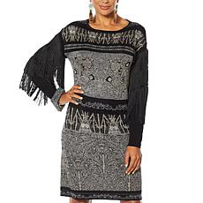 Rara Avis by Iris Apfel Fringe-Sleeve Sweater Dress