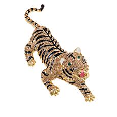 Rara Avis by Iris Apfel Multicolor Crystal and Enamel Tiger Brooch