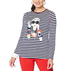 Rara Avis by Iris Apfel Screen-Printed Striped Iris Tee