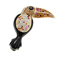 Rara Avis Multicolor Crystal Toucan Brooch