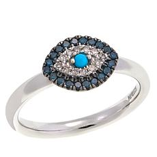 Rarities 0.19ctw Diamond and Turquoise Evil Eye Ring