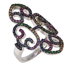 Rarities 0.9ctw Tsavorite and Multicolored Sapphire Open-Swirl Ring