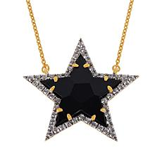 "Rarities 18"" Gold-Plated Gem and White Zircon Star Necklace"