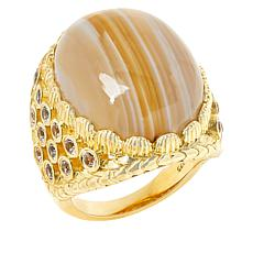 """Rarities 18"""" Gold-Plated Gemstone and White Topaz Oval Ring"""