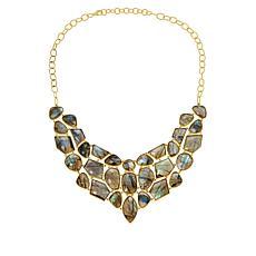"Rarities 18"" Gold-Plated Sterling Silver Labradorite Bib Necklace"