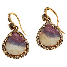 Rarities 18K Rose Gold .92ct Tourmaline in Feldspar & Diamond Earrings