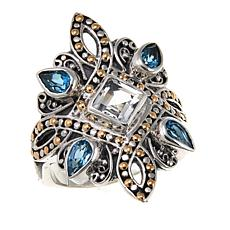 Rarities 1.95ctw White and Blue Topaz 2-Tone Ornate Metalwork Ring