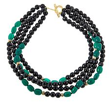 "Rarities 20"" Gold-Plated Onyx, Green Agate and Zircon Beaded Necklace"