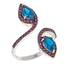 Rarities 2.04ctw Blue Topaz and Rhodolite Open-Wrap Ring