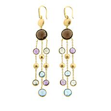 Rarities 25.29ctw Faceted Gem & Gold-Plated Disc 3-Chain Drop Earrings