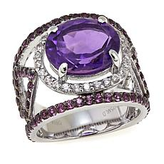Rarities 5.61ctw Amethyst, Rhodolite and White Zircon Split-Shank Ring