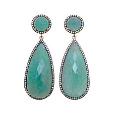 Rarities 60.04ctw Amazonite/White Zircon Drop Earrings