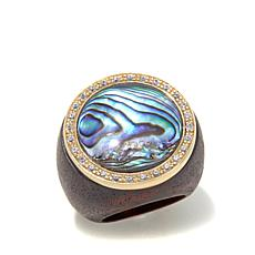 Rarities Abalone and White Zircon Wood Shank Ring
