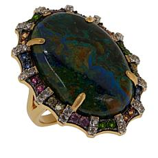 Rarities Azurite Multigem Scalloped Ring