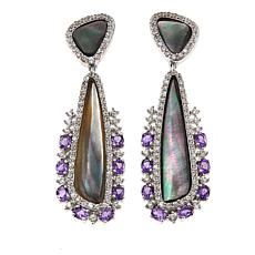 Rarities Black Mother-of-Pearl Multigemstone Drop Earrings