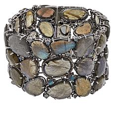 Rarities Black Rhodium Diamond-Accented Labradorite Wide Bracelet