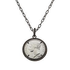 Rarities Black Rhodium-Plated .47ctw Champagne Diamond Coin Pendant