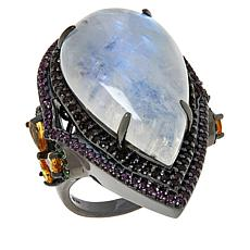 Rarities Black Rhodium Sterling Silver Moonstone Multigem Ring
