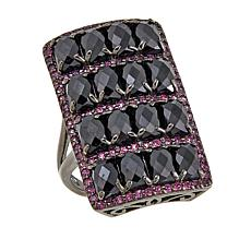 Rarities Black Spinel and Rhodolite Rectangular Ring