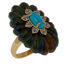 Rarities Carved Azurite Multigem Ring