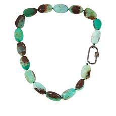 Rarities Chrysoprase and Smoky Quartz Necklace with Carabiner Clasp