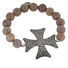 Rarities Diamond Cross Faceted Agate Bead Stretch Bracelet