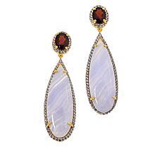 Rarities Garnet, Blue Lace Agate and Zircon Elongated Drop Earrings