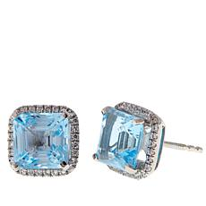 Rarities Gemstone and White Zircon Asscher-Cut Stud Earrings
