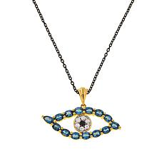 Rarities Gemstone Evil Eye Talisman Pendant with Cable Chain